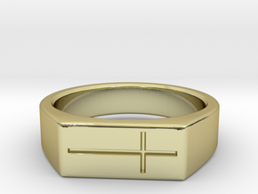 Cross Ring in 18k Gold Plated Brass: 8 / 56.75