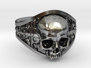 Elegant Gothic Skull Ring in Antique Silver: 8.5 / 58