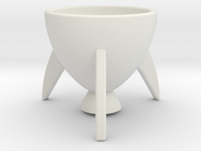 Rocket egg cup in White Natural Versatile Plastic