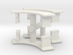 Curved Garden Bench (x4) 1/48 in White Natural Versatile Plastic