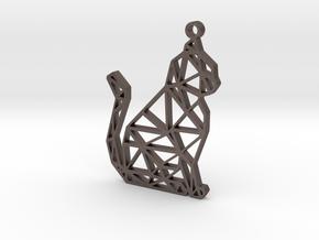geometric cat pendant in Polished Bronzed-Silver Steel