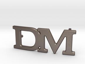 Custom Monogram Belt Buckle - DM in Polished Bronzed-Silver Steel