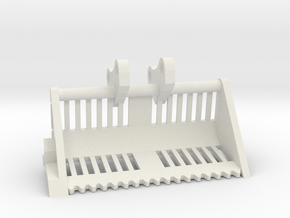 """1/64th  Excavator 72"""" Weed or Marsh ditch bucket in White Natural Versatile Plastic"""