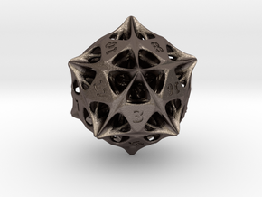 Alien Artefact D20 (Engraved Numbers) in Polished Bronzed-Silver Steel