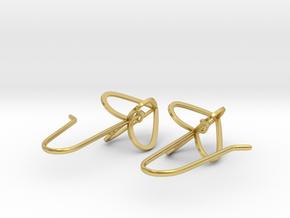 Heart Crown Earrings in Polished Brass