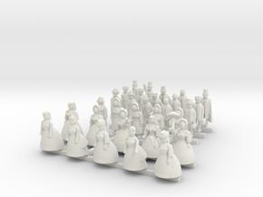 N Gauge Victorian Passengers (Standing) in White Natural Versatile Plastic