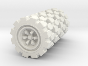 Wheel 4-Pack: 3x1,3 cm size in White Natural Versatile Plastic: 28mm