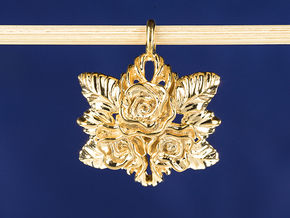 Rose necklace Pendant. Rose garden bouquet  in 18k Gold Plated Brass
