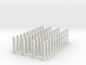 PRR HANDRAIL O Gauge Stantions in White Natural Versatile Plastic
