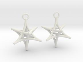 Merkaba Earrings in White Natural Versatile Plastic