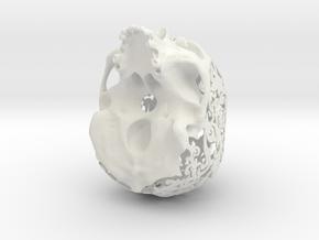 Patterned Human Skull Sculpture in White Natural Versatile Plastic