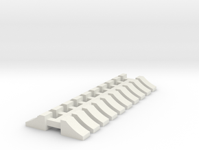Wheel Chock - 10 sets 1-72 Scale in White Natural Versatile Plastic