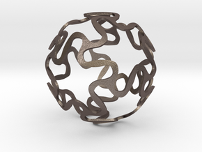 Curvy Star Sphere in Polished Bronzed Silver Steel