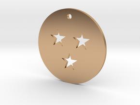 Three Star Dragon Ball Charm in Polished Bronze