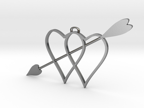 two hearts and top hasp and higher arrow 210911 18 in Polished Silver