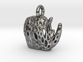 Flat Tribal Rhino Voronoi Pendant in Polished Silver