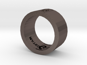 Rated G For GAMER Ring in Polished Bronzed Silver Steel