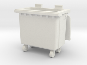 Trash bin with wheels 01.O Scale (1:48) in White Natural Versatile Plastic