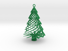 Twisted Tree Ornament in Green Strong & Flexible Polished
