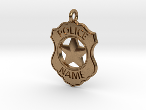 Police Badge Pet Tag / Pendant / Key Fob in Natural Brass