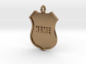 Police Shield Pet Tag / Key Fob in Natural Brass