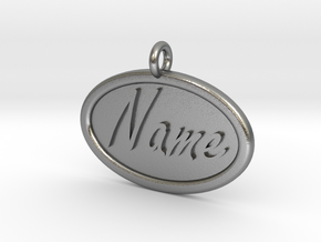 Oval Pet Tag / Pendant in Natural Silver