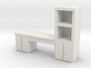 Cabinet Office Desk 1/72 in White Natural Versatile Plastic