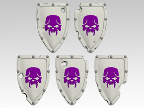 Skull 1 Kite Shields x10 in Smooth Fine Detail Plastic