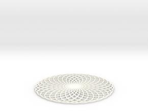 Spirograph Coaster 2 in White Processed Versatile Plastic