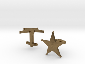 Sheriff's Star Cufflinks (1) Silver,Brass, or Gold in Natural Bronze