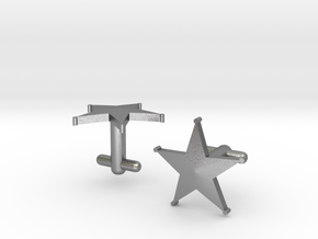 Sheriff's Star Cufflinks (1) Silver,Brass, or Gold in Natural Silver