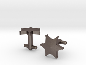 Sheriff's Star Cufflinks (Style 2) in Polished Bronzed Silver Steel