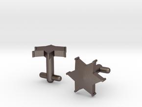 Sheriff's Star Cufflinks (Style 2) in Polished Bronzed Silver Steel