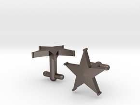 Sheriff's Star Cufflinks (Style 1) in Polished Bronzed Silver Steel