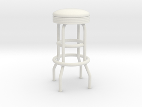 Soda Fountain Bar Stool 02. 1:12 Scale in White Natural Versatile Plastic