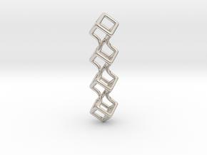 Tetra Soft Box Pendant in Rhodium Plated Brass