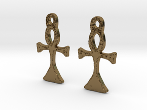 :Simple Ankh: Earrings in Polished Bronze