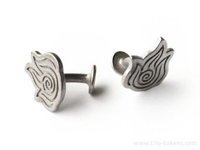 Fire Element Cufflinks (Avatar the Last Airbender) in Polished Nickel Steel