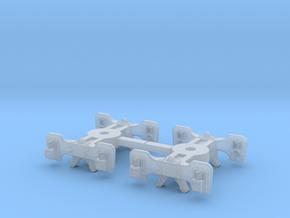 T95s x2 N scale short Fox trucks, screw mount in Smoothest Fine Detail Plastic