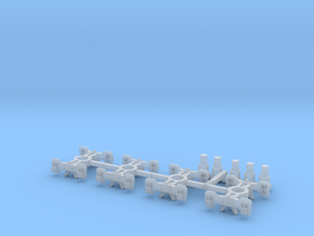 T95p x4 N scale short Fox trucks, pin mount in Smoothest Fine Detail Plastic