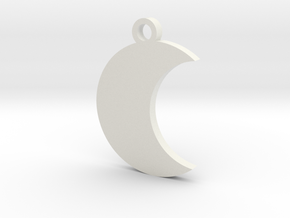 Moon Charm (style 2) in White Natural Versatile Plastic