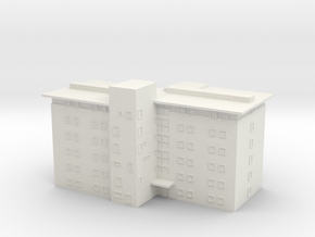 Caswell T gauge (1:450) Modern Block of Flats in White Natural Versatile Plastic: 1:450 - T