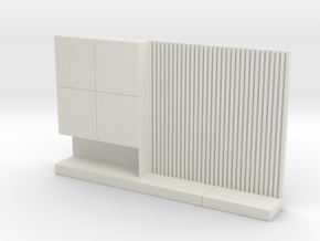 Miniature 1:24 TV Wall in White Natural Versatile Plastic: 1:24