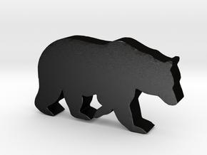 Bear Game Piece in Matte Black Steel