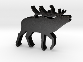 Elk Game Piece in Matte Black Steel