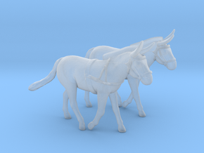 Mule Pair w/Harness in Smooth Fine Detail Plastic: 1:48 - O