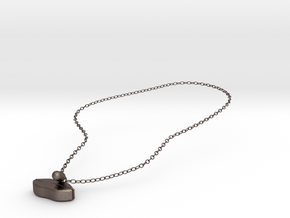 Pillip Necklace in Polished Bronzed-Silver Steel