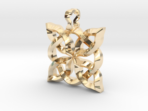 4 Clover Knot - Pendant. Shown in sterling silver  in 14K Yellow Gold
