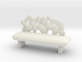Modern Miniature 1:24 Sofa in White Natural Versatile Plastic: 1:24