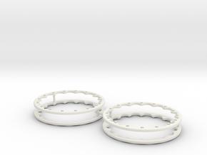 15' Drag Wheel Outer Beadlocks x4 1/24 1/25 in White Natural Versatile Plastic